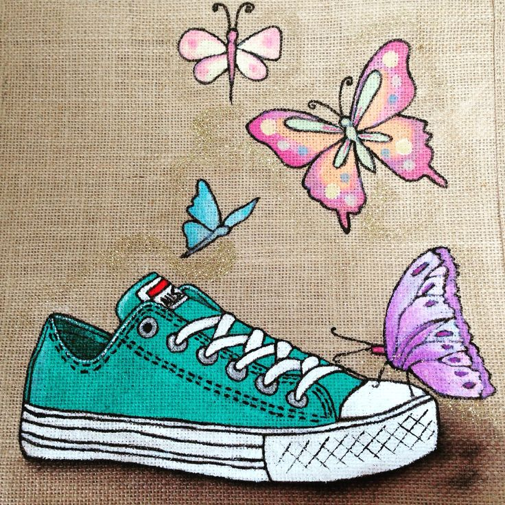 Emily-em Original Bag Design. turquoise converse trainer with butterfly design. Hand-painted on to a medium Jute bag.