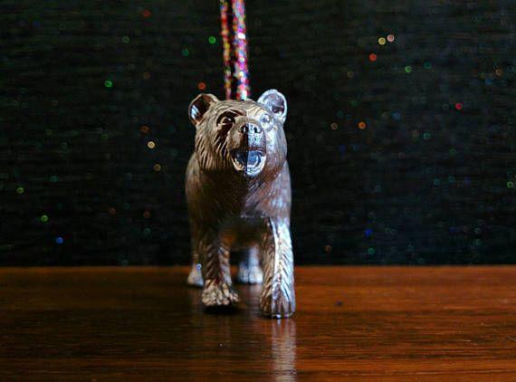 Silver Bear Cake Topper // Grizzly Bear Party Decor // Polar
