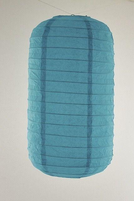 Lanterna di carta di riso da appendere Tubolare, colore Blu. Diametro 30 cm, altezza 48 cm con gancio.