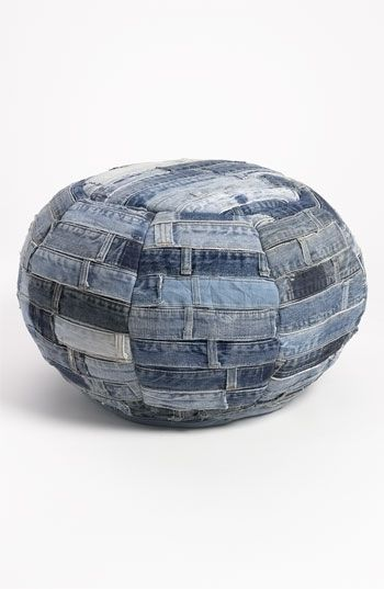 Great Inspiration! Left over denim belt loop waistbands. Mina Victory Denim Ottoman available at #Nordstrom