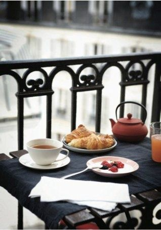 Happiness is... a slow breakfast on the patio.