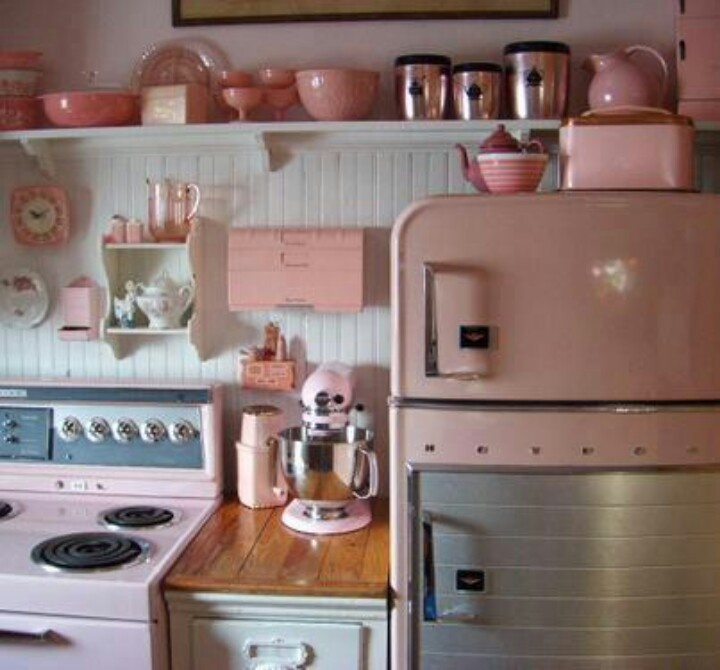 Pale Pink U0026 White Vintage Inspired Kitchen With Bead Board And Vintage  Refrigerator