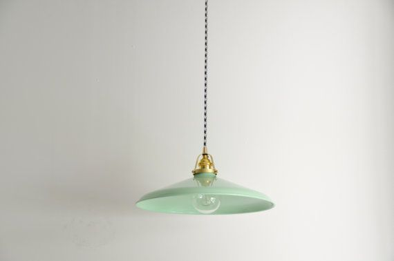 Mint green & brass pendant light with a by TripleSevenHome on Etsy