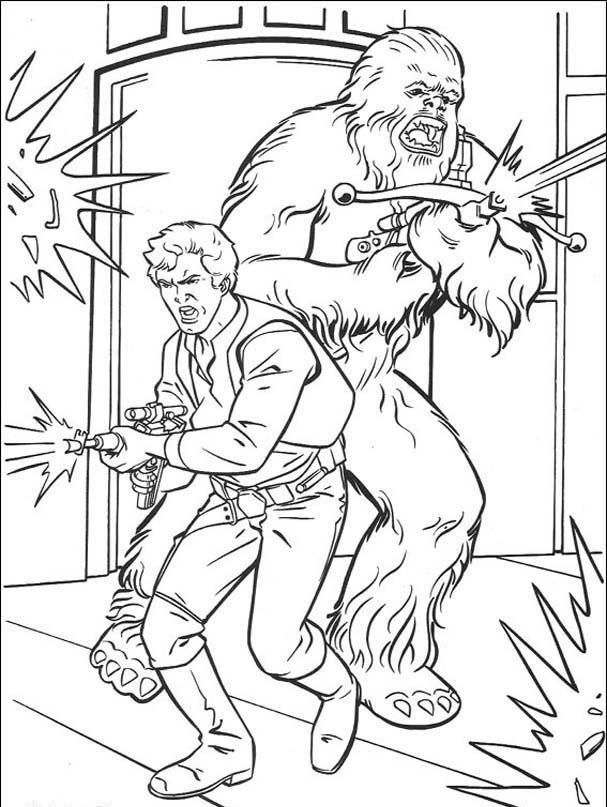 Chewbacca and his friends Coloring Page Star wars
