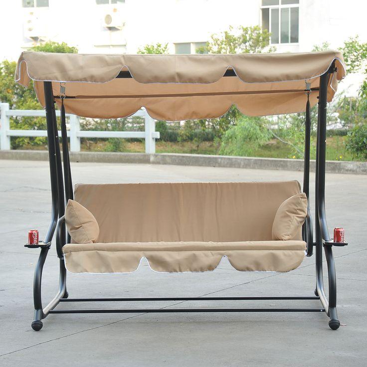 Ultra Heavy Duty Patio Swing Set 3 Seater - 750 LBS Beige | ThePatioDepot.com USA