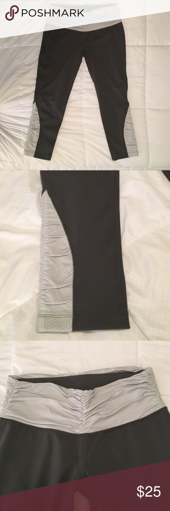 """Patagonia cropped leggings Size Small Patagonia cropped leggings size small. 84% nylon, 16% spandex. Grey with silver detail on waist and legs. Inseam 20"""". Never worn. Great condition! Patagonia Pants Leggings"""