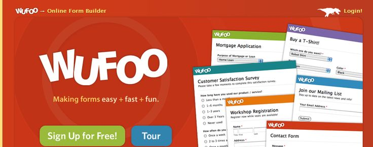 Wufoo's HTML form builder helps you create online web forms.Usethe web form creator to power your contact forms, onlinesurveys, and event registrations. I have used this to gather information from parents and also as a tool for feedback on our website.