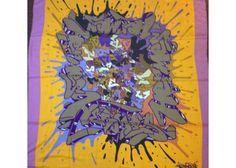 """Hermès Cashmere GM Shawl """"Graff"""" or """"Graffiti"""" in Lilac & Orange  by Cyril Phan"""