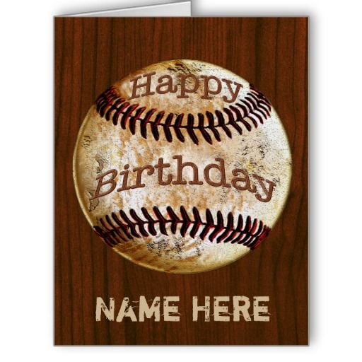 Personalized Vintage Baseball Birthday Card for Men and ...