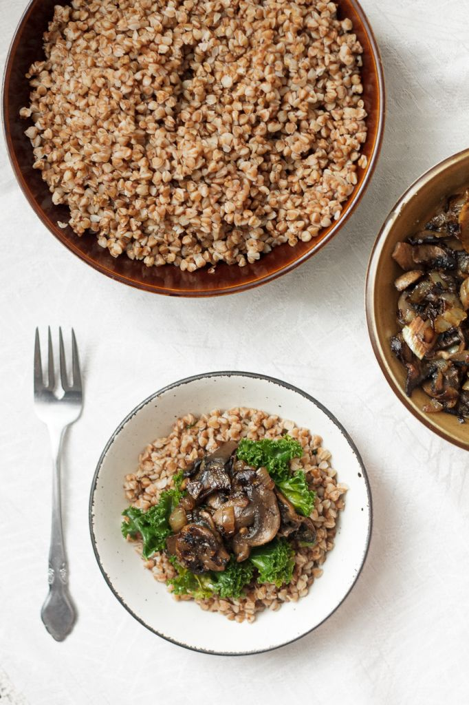 Buckwheat kasha with caramelized mushrooms and onions - a delicious and nutritious naturally gluten-free and vegan meal.