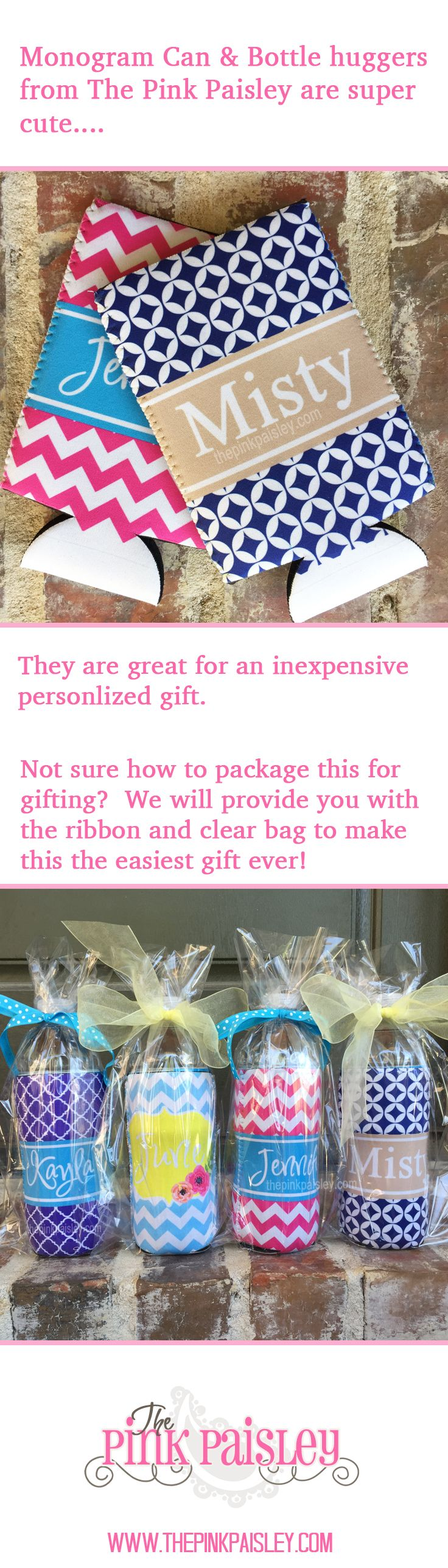 Cute gift idea from The Pink Paisley! http://www.thepinkpaisley.com/gifts-and-accessories/koozies-and-sports-bottles/