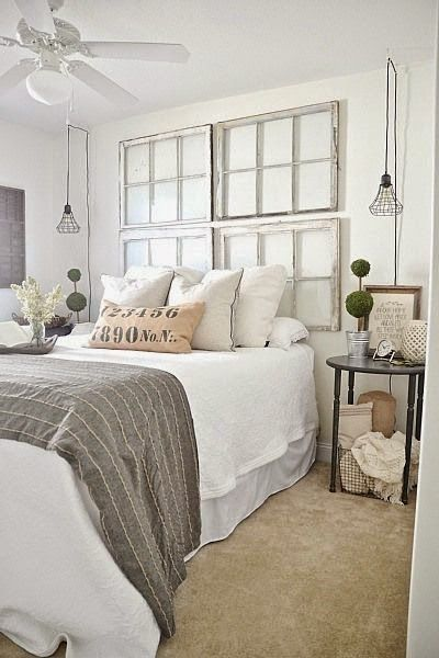 13. old window frames can make a perfect headboard