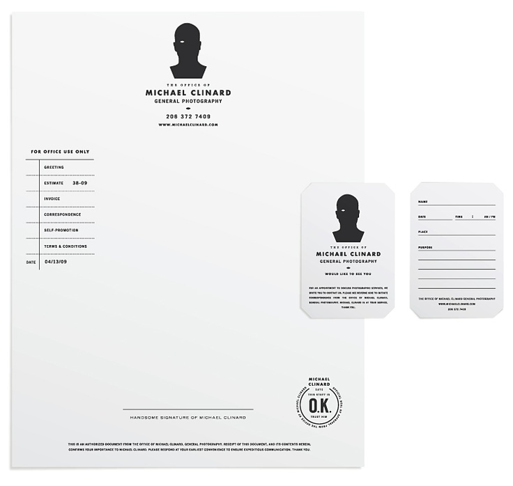 Identity and stationery for Seattle photographer, Michael Clinard - designed by Tim Lahan of  Trademark™ | www.trademark-trademark.com