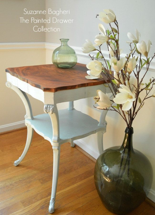 vintage table in country chic icicle blue before and after the painted drawer