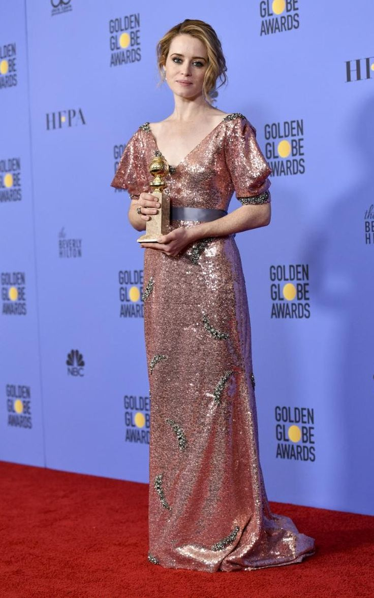 Claire Foy with her best actress Golden Globe award