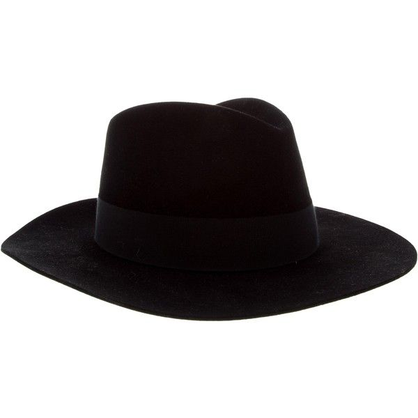 Pre-owned Saint Laurent 2016 Felt Fedora ($725) ❤ liked on Polyvore featuring men's fashion, men's accessories, men's hats, black, mens fedora, mens fedora hats, mens hats and mens felt fedora