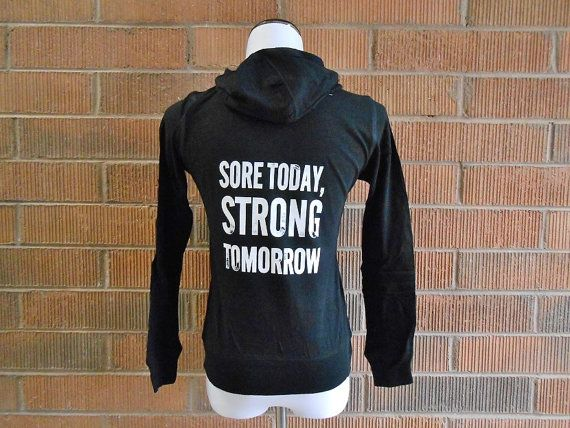 Sore Today Strong Tomorrow Hoodie. Workout Burnout Hoodie. Workout Sweatshirt. Crossfit Hoodie. Womens Running Hoodie. Womens Gym Hoodie. on Etsy, $27.99