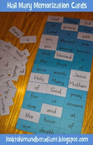 Hail Mary prayer cards to aid in memorization.  Free Printable.  From looktohimandberadiant.blogspot.com