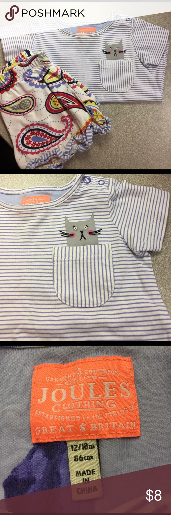 12-18 months Joules blue stripe Cats in your pocket! This has stains! Cute for play clothes. Joules Shirts & Tops Tees - Short Sleeve