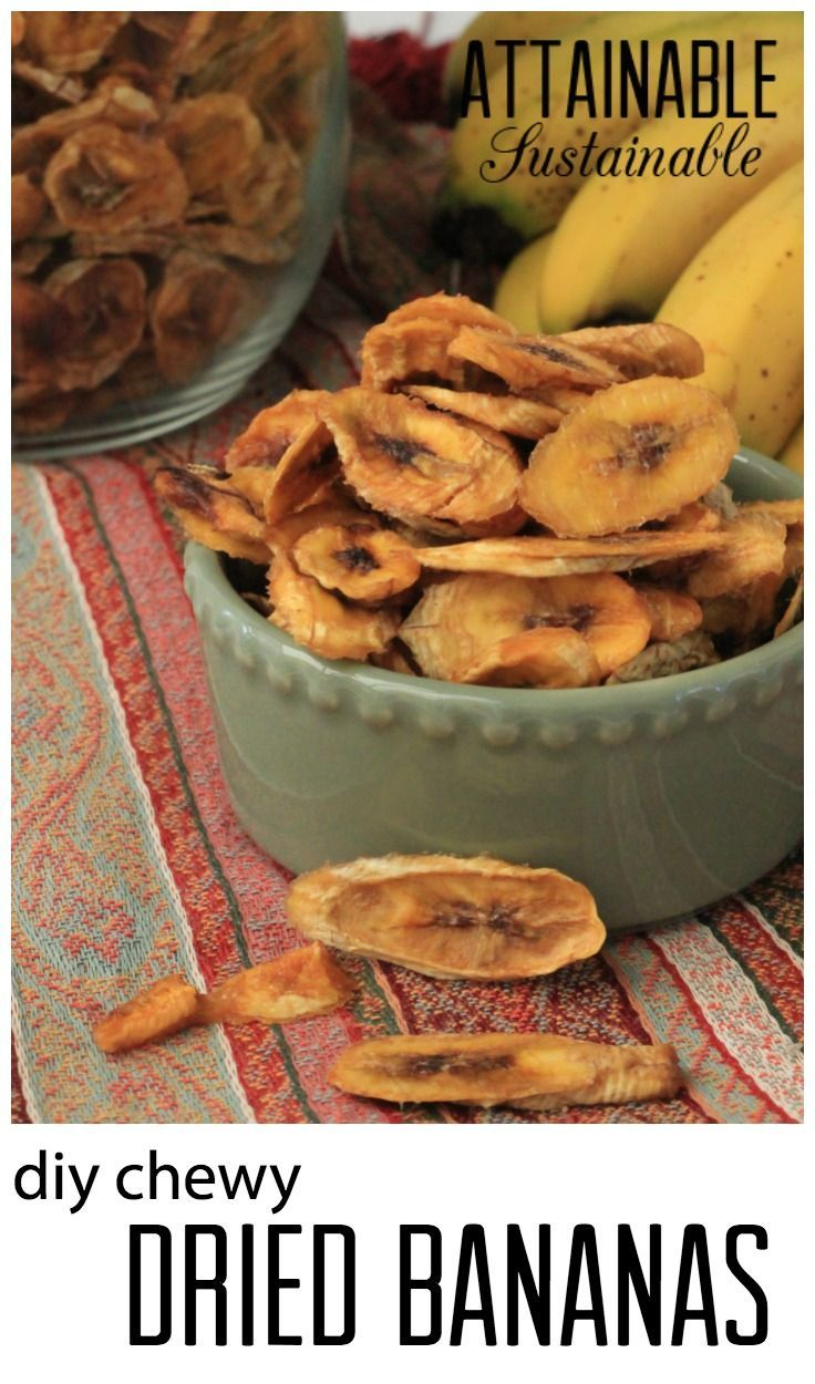 Dehydrated bananas are a great healthy snack and they're easy to make. Salvage brown bananas to add to your pantry or emergency supplies.  My family LOVES these.