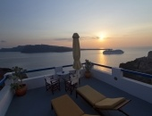 The famous Santorini sunset view from my private terrace at the Esperas Santorini