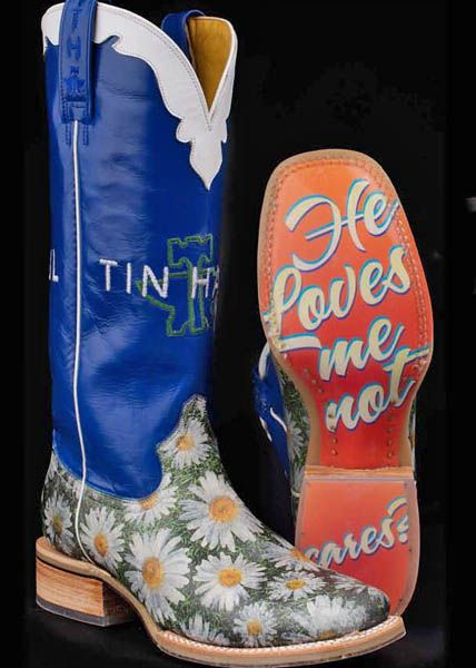 Daisy Ladies Tin Haul Boots -- The perfect pair of boots for your wedding day #SomethingBlue #HeLovesMe #LoveQuotes | SouthTexasTack.com