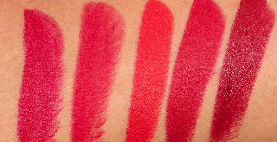 Swatches from the left: MAC Red, Ruby Woo, Lady Danger, Russian Red and Dubonnet