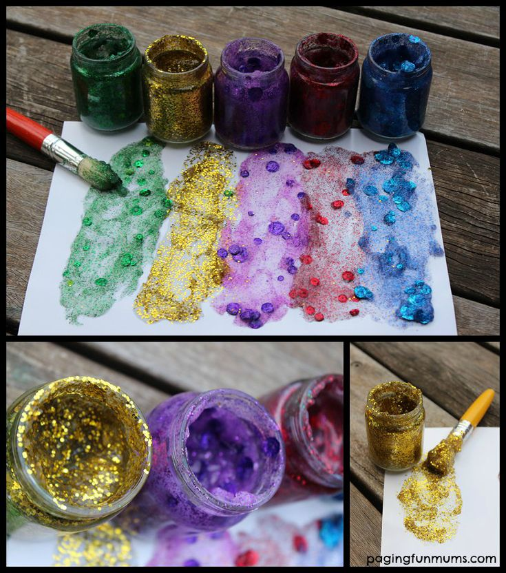 "Homemade Glitter Glue using cornflour, salt, hot water, white vinegar & glitter from Paging Fun Mums ("",)"