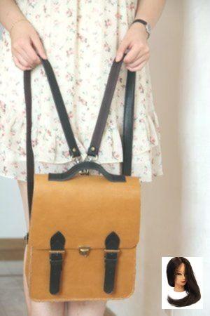 Handmade Vintage Edle Echtes Leder Damen Rucksack Satchel Aktentasche – Braun mit Schwarz (m32