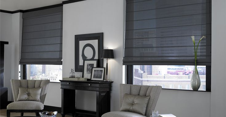Dark gray shades in bedroom with gray paint, white trim?