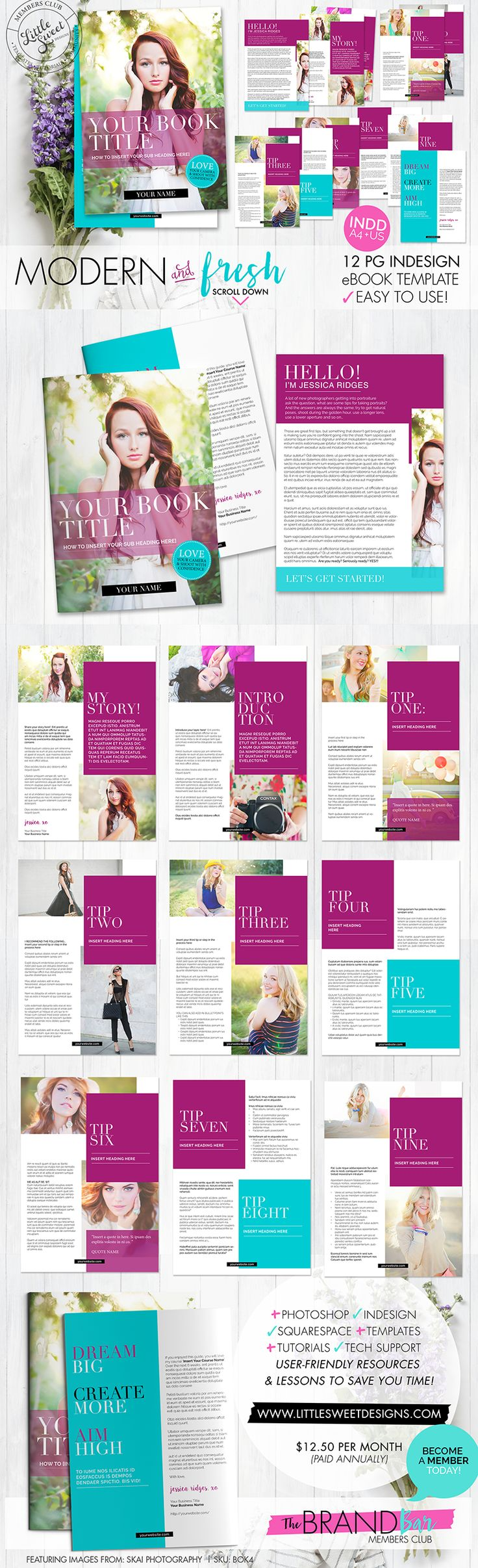 InDesign TEMPLATE // A gorgeous design for you to create a welcome magazine, eBook, eGuide, checklist or downloadable PDF.  Perfect if you're giving away a free eBook as an opt-in to your email list (via your website) or if you want to send out a welcome info pack to your clients.  :)  Recently added to #thebrandbar Members Club > Join today & get access to 100's of designer templates (in Photoshop + InDesign) without the designer price-tag. #thebrandbar #littlesweetdesigns