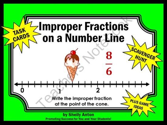 Improper Fractions on a Number Line Grade 3 Common Core CCSS.MATH.CONTENT.3.NF.A.2.B from Promoting Success on TeachersNotebook.com -  (14 pages)  - Fractions: You will receive 30 fraction task cards requiring students to identify improper fractions on a number line. Scavenger hunt directions and other game ideas are provided. You will also receive a student response form and answer key.   CCSS.MATH.C