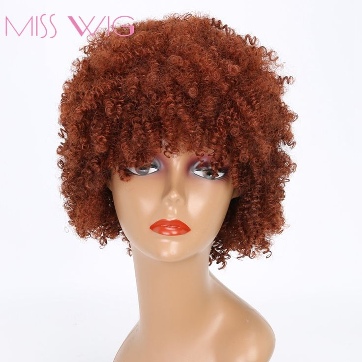 MISS WIG Short Kinky Curly Wig For Black Women Synthetic Wigs AFro Wig Black Red Color African Hairstyle