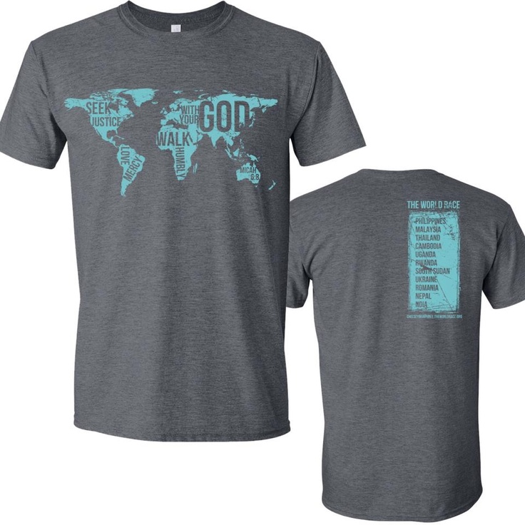 Follow my world race blog and learn ways to support my journey (like buying this awesome shirt)! You can start by repinning :)