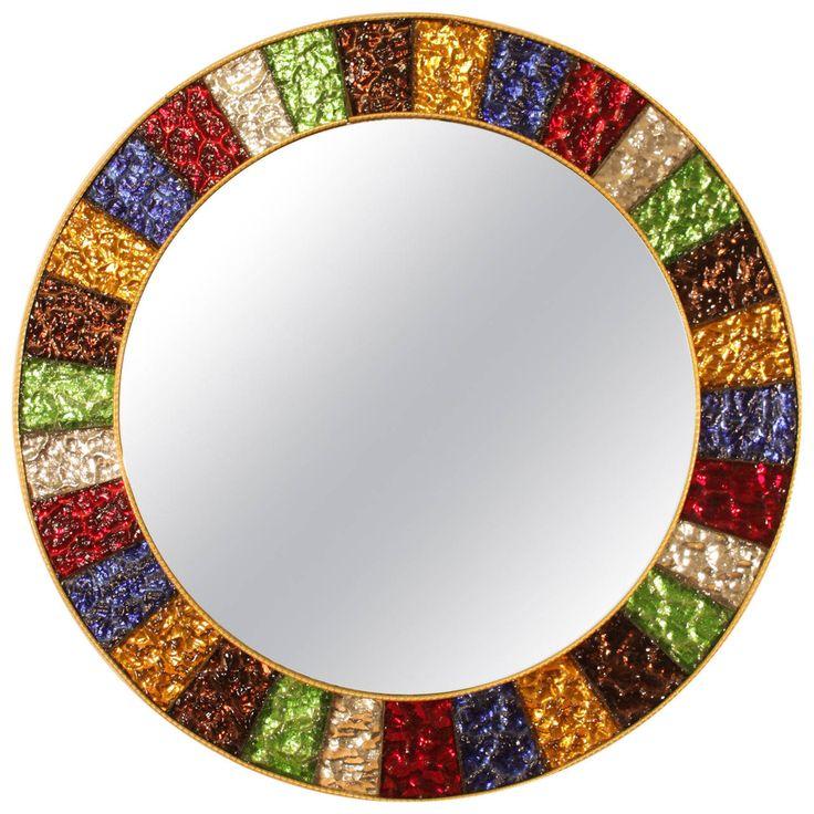 Mid Century Multicolor Glass Framed Circular Mirror