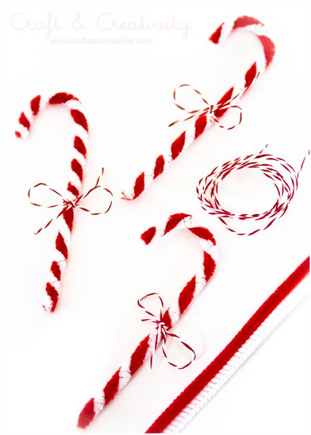 Pipe cleaner candy canes |You will need one white and one red pipe cleaner. Wrap one around the other and form a candy cane. Wrap a small piece of string around and make a bow. My candy canes were featured in the latest issue of the Swedish magazine Handarbete & Pyssel (Handiwork & Crafts).