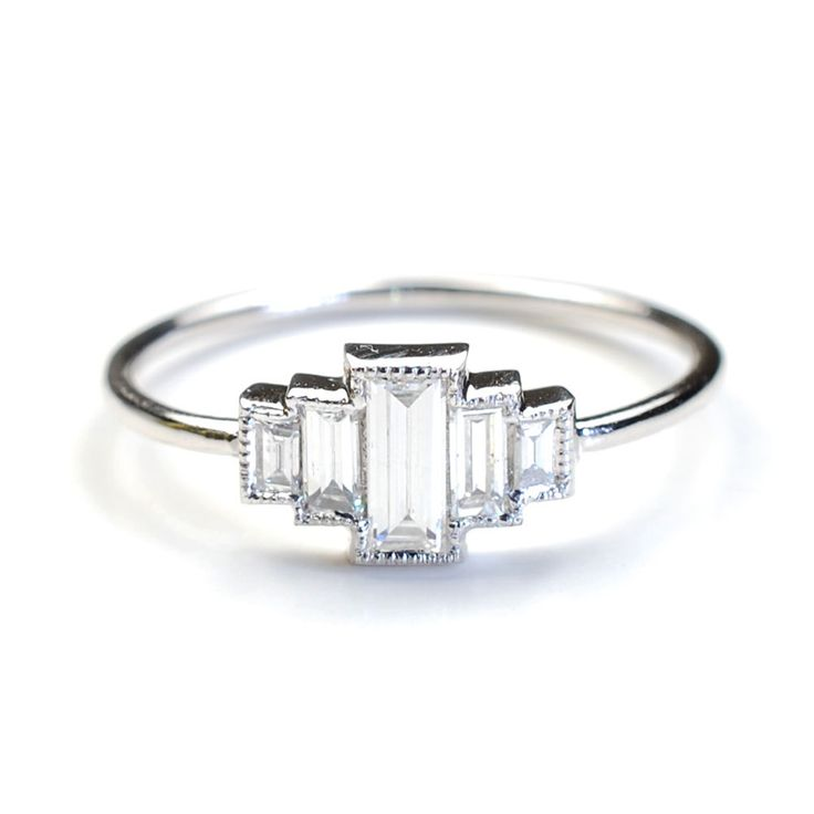 Diamond Engagement Ring, Baguette Diamonds and White Gold, Vintage Art Deco Style Ring, Nixin