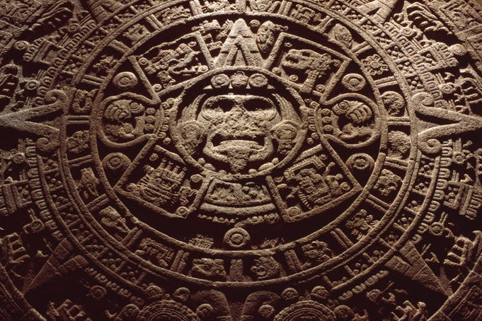 The stone sun 'calendar' of the Aztecs (or Mexica) in the Museo Nacional de Antropologia.
