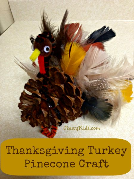 This fun Turkey Pinecone Craft lets your kids add some flair to your Thanksgiving table or mantelpiece.