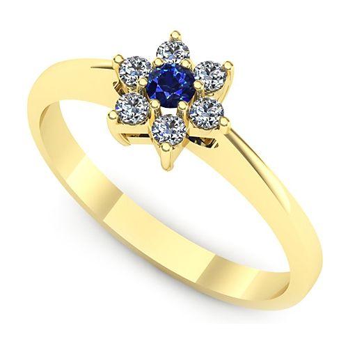 Inel de logodna din aur galben, cu safir si 6 diamante. Pret special!