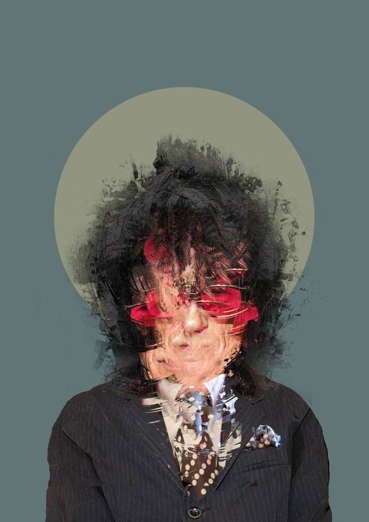 "Saatchi Art Artist Czar Catstick; Collage, ""'The Bard of Salford', John Cooper Clarke Portrait, 2016, AP #1 of 1"" #art"