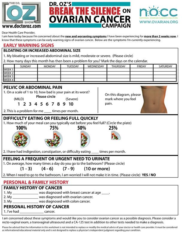 Know the symptoms of ovarian cancer! This is the Dr. Oz One Sheet. Great stuff!!! Let's save a life!! It could be yours or someone you love!