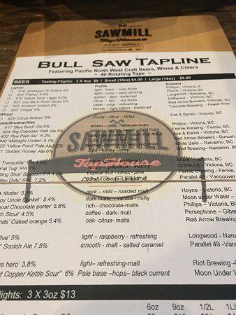 Menu options, Sawmill TapHouse and Grill change location 3055 Oak St | #201B, Chemainus, British