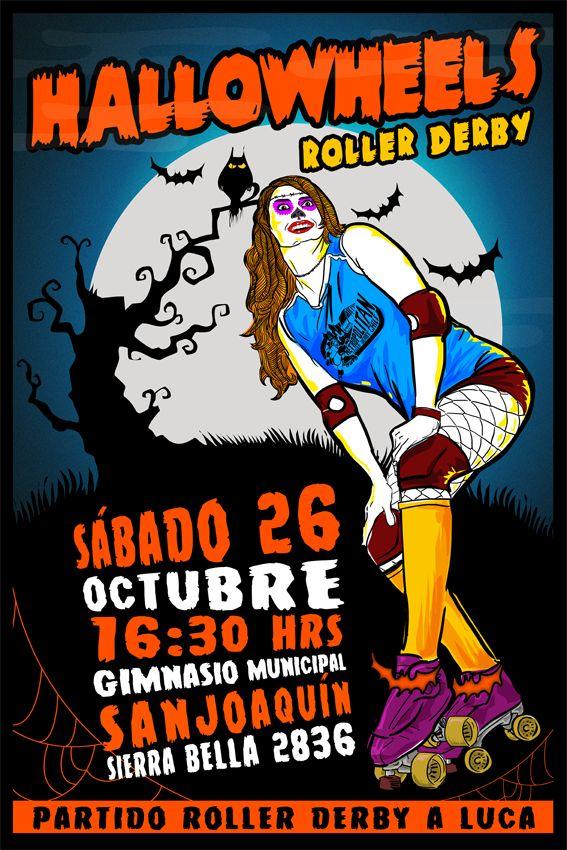 Afiche de Partido Roller Derby con temática Halloween.  Ilustración: Se hacen Monos.  Gráfica: Talibana Olguín  #rollerderby