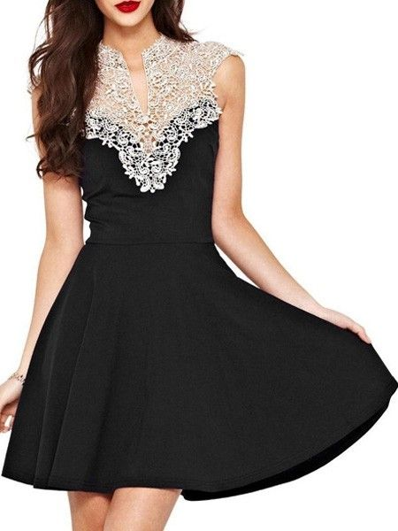 Attractive Lace Patchwork Skater-dresses Skater Dresses from fashionmia.com