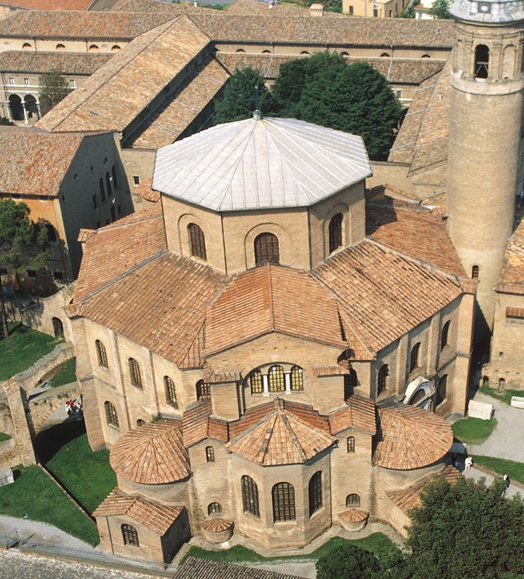 Aerial View of Basilica San Vitale (Byzantine architecture), Ravenna, Italy