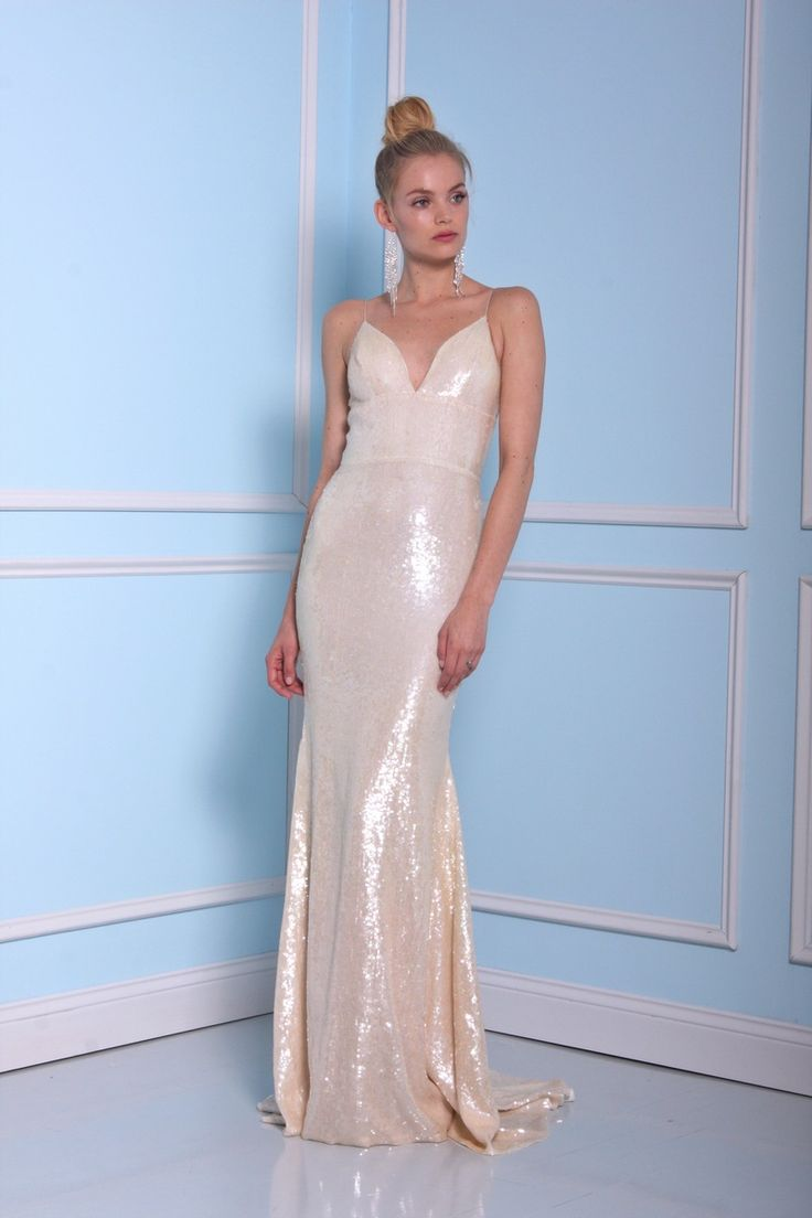 Light gold sequins wedding dress by Christian Siriano wedding dresses 2016…