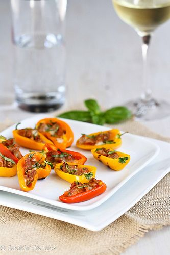 Mini Grilled Stuffed Peppers Recipe with Sausage & Basil   cookincanuck.com #recipe #grilled #appetizer by CookinCanuck, via Flickr