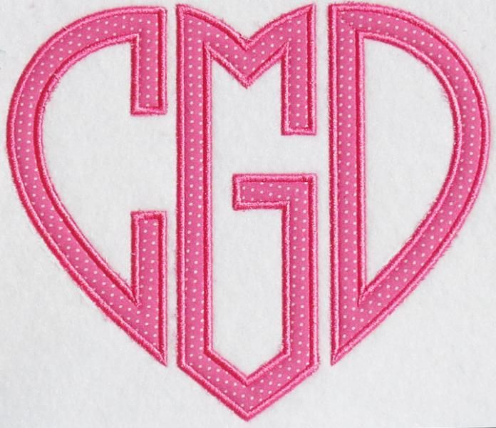 Heart Applique Monograms Embroidery Fonts | Apex Embroidery Designs, Monogram Fonts & Alphabets
