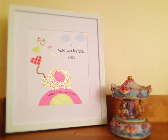 PERSONALISED cute elephant birth memento nursery art print YOUR child's details print and paper craft on Etsy, $30.00 AUD